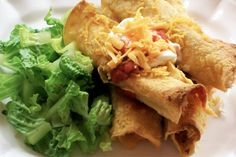 >>>Low Calorie Dinner Recipes<<< Skinny Chicken Taquitos are the perfect appetizer. Just be sure to eat while hot and crispy!