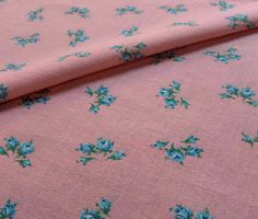 vintage feedsack fabric  BLUE ROSES on PINK by NauvooQuiltCo, $5.50