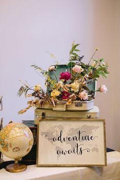 A super stylish vintage travel-themed wedding