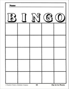Bingo Card Template