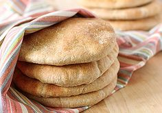 Whole wheat pita recipe & good food photography via the Galley Gourmet Flour Recipes, Bread Recipes, Real Food Recipes, Yummy Food, Tasty, Wheat Pita Recipe, Whole Wheat Pita Bread, Homemade Pita Bread, Armenian Recipes