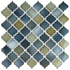 Merola Tile Hudson Tangier Atlantis in. x 5 mm Porcelain Mosaic Tile, Blue/ Green and Grey / High Sheen Mosaic Wall, Mosaic Glass, Mosaic Tiles, Wall Tiles, Backsplash Tile, Mosaics, Backsplash Arabesque, Room Tiles, Marble Mosaic