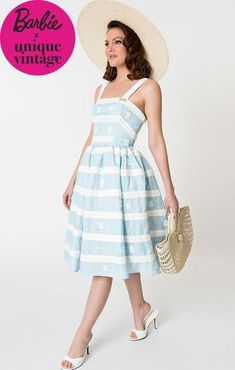 b5562f5b6d695 1960 s Vintage Inspired Blue Sundress-Barbie Collection