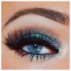 Turquoise glitter smokey eye #eye #makeup #eyes #eyeshadow #glitter #bold #dramatic