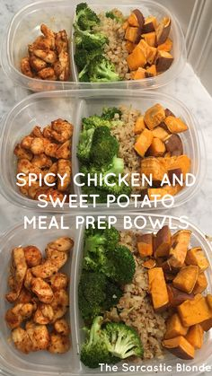 Spicy Chicken Sweet Potato Bowls - The Sarcastic Blonde onepandinner Spicy Chicken and Sweet Potato Bowls - Can use any Veggies you like for an easy Sheet Pan Dinner and perfect for Quick Meal Prep # Clean Eating Dinner, Clean Eating Snacks, Healthy Eating, Clean Eating Meal Plan, Healthy Cooking, Easy Healthy Meal Prep, Healthy Recipes, Healthy Drinks, Healthy Nutrition