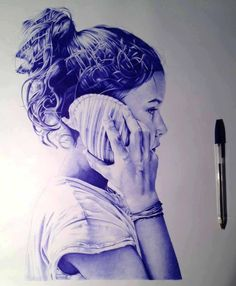 Ballpoint pen drawing of a girl listening to a shell #art #pen #penart #ballpointpen #drawing