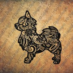 Zentangle Chihuahua SVG dxf fcm eps ai png cut by DigitailDesigns