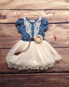 Navy Ivory Toddler Girls Tutu Dress, Vintage Dress, Girls Denim Dress, Western Cowgirl Dress, Rustic Flower Girl Dress, Beach Wedding