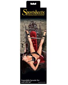"Sportsheets Expandable Spreader Bar & Cuffs Set - Expands from 29-37"". 3 easy steps to assemble!"