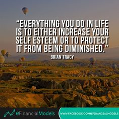 Everything you do in life is to either increase your self-esteem or to protect it from being diminished. Daily Quotes, Life Quotes, Financial Modeling, Motivational Quotes, Inspirational Quotes, Brian Tracy, Get Out Of Debt, Self Esteem, Priorities