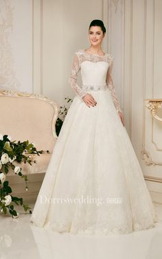 #Dorris Wedding - #Dorris Wedding A-line Long Sleeve Low-V Back Bateau Lace Dress - AdoreWe.com
