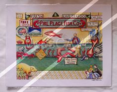 By Liza Phoenix. Vintage American print - ready for framing. Flying Fish! A wonderful quirky piece of art!