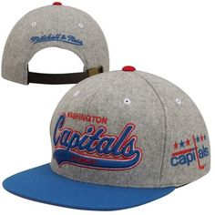 21f478a35 Mitchell   Ness Washington Capitals Vintage Tailsweep Melton Adjustable Hat  - Gray