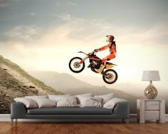 Full Size Moto Cross Wall Mural hand drawn and painted by Drawn for