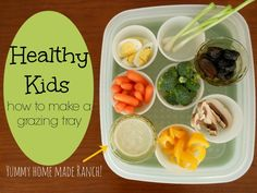 """Grazing tray = healthy snacks for kids. Solves two problems: I don't have to hear """"I'm hungry"""" a hundred times and there is always a healthy option! Healthy Snacks For Kids, Healthy Treats, Healthy Eating, Healthy Food, Vegan Food, Baby Food Recipes, Snack Recipes, Healthy Recipes, Toddler Meals"""