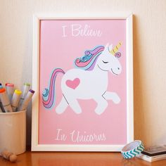 I Believe in Unicorns Art Print A4 size  Christmas by AdelaydeArt