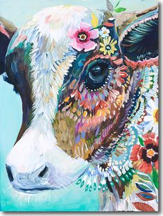 C for Cow - detailed painting with flowers, bright colors and a cow.
