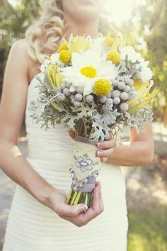 grey and yellow wedding flower bouquet, bridal bouquet, wedding flowers, add pic source on comment and we will update it. www.myfloweraffair.com can create this beautiful wedding flower look.