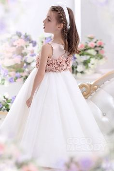 Cute A-Line Tank Top Floor Length Tulle Crystal Pink/Ivory Flower Girl Dress CKZA13003#Cocomelody# flowergirldress#