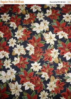 50% OFF SALE Cotton Fabric, Quilt< Home Decor, Christmas, Merry Birds~Pointsettias~Hoffman of CA,Hc163