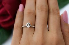 3/4 ctw Oval Cut Accented Solitaire Wedding Ring by TigerGemstones