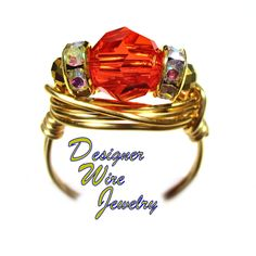 DWJ0605 Stunning Hawaiian Hibiscus Genuine Swarovski Faceted Crystal Wire Wrap Ring All Sizes