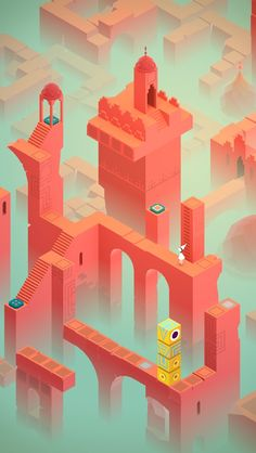 "archatlas: "" Monument Valley In-game art featured in Monument Valley. collaborated with ustwo studio, the creator of ""Monument Valley, to create these prints. Game Design, Bg Design, Material Design, Flat Design, Isometric Art, Isometric Design, Isometric Shapes, Monument Valley App, Low Poly"
