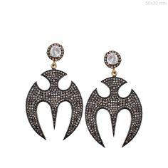 14k Yellow Gold 4.55 Ct Diamond Pave BAT Design Dangle Earrings Sterling Silver #Handmade