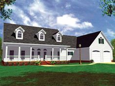 Home Plan HOMEPW13703 - 1852 Square Foot, 3 Bedroom 2 Bathroom Country Home with 2 Garage Bays | Homeplans.com