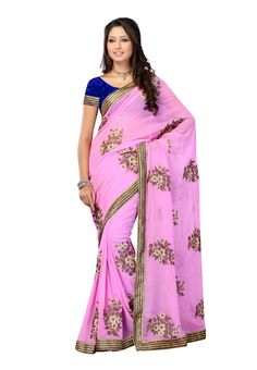 #Designer Georgette #Pink #Saree   For More Saree Check this page now :-http://www.ethnicwholesaler.com/sarees-saris
