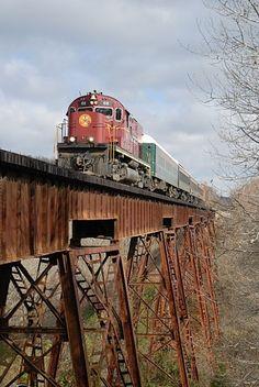 freight train on trestle bridge     .....rh