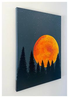 Small Canvas Paintings, Easy Canvas Art, Small Canvas Art, Easy Canvas Painting, Moon Painting, Mini Canvas Art, Simple Acrylic Paintings, Diy Canvas, Landscape Paintings Simple
