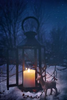 Lit lantern in the snow on a snowy night by Sandra Cunningham