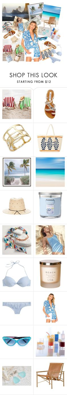 """my vacation on the beach"" by lidiar8r ❤ liked on Polyvore featuring Steve Madden, Robert Lee Morris, Pottery Barn, House of Lafayette, Yankee Candle, Cost Plus World Market, Aerie, J.Crew, Double Rainbouu and Olympia Le-Tan"
