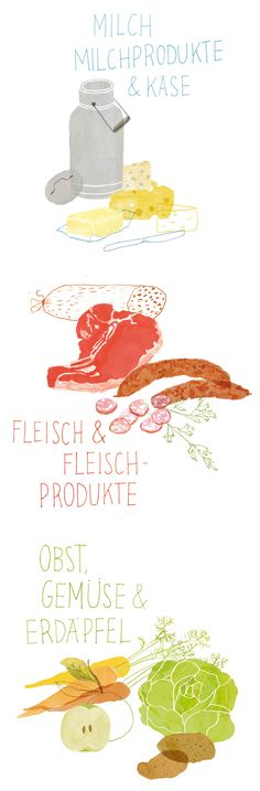 Illustrations for a food catalogue by Nanna Prieler