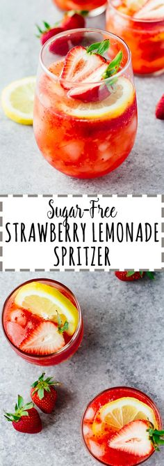 Sugar-Free Strawberry Lemonade Spritzer! Vegan, gluten-free, and perfect for summer. This post is sponsored by @zevia.