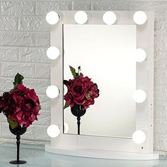 New Joyful Store White Hollywood Makeup Mirror,Lighted Vanity Mirror,Tabletop Wall Mounted Cosmestic Mirror LED Lights,Back Stage Beauty Mirror 12 Free Dimmer Bulbs online shopping - Greatshoppingideas Hollywood Makeup Mirror, Makeup Vanity Mirror With Lights, Mirror With Led Lights, Lighted Vanity Mirror, Led Mirror, Wall Lights, Glass Mirrors, Vanity Mirrors, Bathroom Mirrors