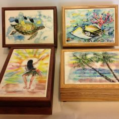 Local artist Melissa Osaki's watercolor art is beautifully displayed on these wooden jewelry boxes.