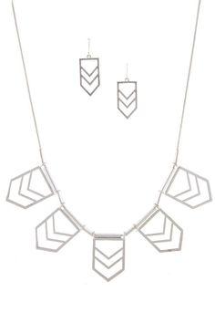 Silver Geometric Necklace & Earring Set