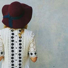 Veille Peasant Top #Anthropologie #MyAnthroPhoto / black and white with wine floppy hat