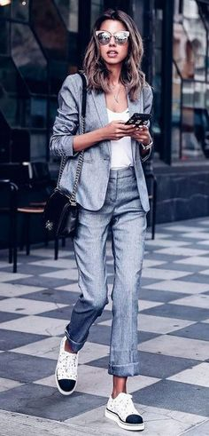 amazing+office+outfit+/+bag+++grey+suit+++top+++sneakers