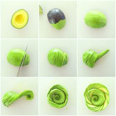 How to make an avocado rose Fruit Decorations, Food Decoration, Cucumber Flower, Creative Food Art, Food Garnishes, Garnishing, Fruit And Vegetable Carving, Food Carving, Fruit Art