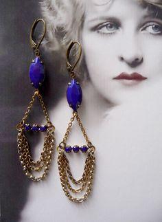 Iseult Earrings - Vintage Inspired Jewelry - Vintage Navettes - Blue - Brass Chains - Swarovski Findings (SD0311). $36.00, via Etsy.