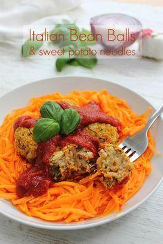 Italian Bean Balls with Sweet Potato Noodles