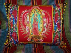 Virgen of Guadalupe Mexican Pillow Bold by RanchoRomantico on Etsy