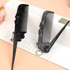 1 Pcs Butterfly Foldable Hair Brush Black Retro Combs Carved Pattern Portable Makeup Tool Salon Haircut Anti Static Comb T35-in Combs from Beauty & Health on Aliexpress.com | Alibaba Group