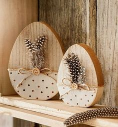 SET OF 2 FEATHER EGG Happy Easter natural brown Easter decoration feathers wooden eggs wooden egg - Ostern Happy Easter, Easter Bunny, Easter Eggs, Wooden Crafts, Diy And Crafts, Cork Crafts, Easter Garden, Diy Ostern, Easter 2020