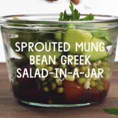 Sprouted Mung Bean Greek Salad-In-A-Jar // The perfect grab-n-go lunch recipe. Great for weekly meal prepping and planning.
