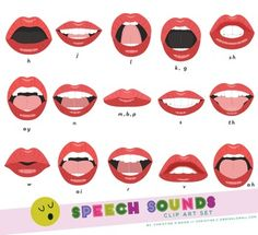 Various mouth forms depicting common speech sounds. Perfect for speech language…