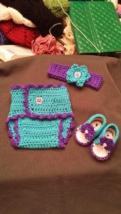 Infant headband sandals & diaper cover